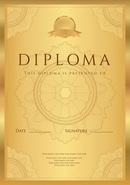 Gold Diploma of completion (template or sample blank background) with guilloche pattern (watermark), borders. Design for Certificate, invitation, gift voucher, official, ticket, award (winner). Vector
