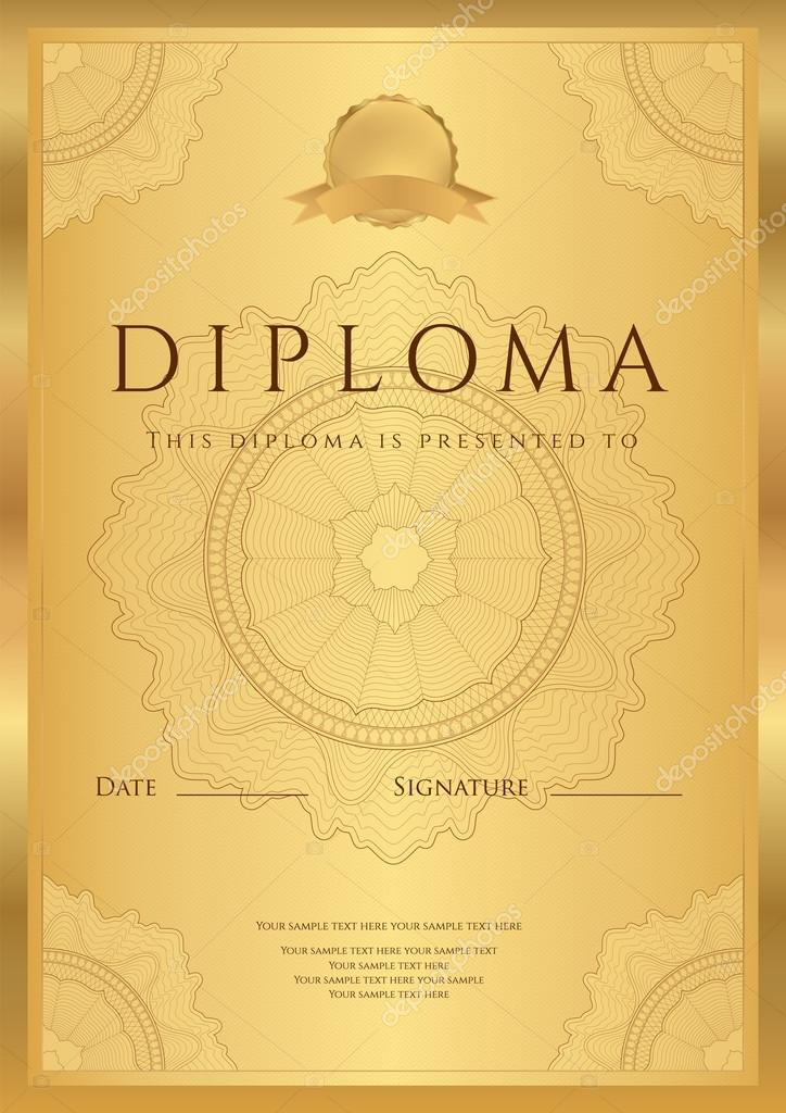 Gold Diploma Of Completion (Template Or Sample Blank Background