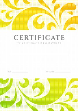 Certificate of completion (template or sample background) with colorful (bright, rainbow) floral pattern (swirl, scroll shape). Design for diploma, invitation, gift voucher, ticket, awards. Vector