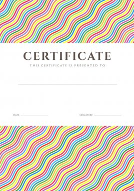 Certificate of completion (template or sample background) with colorful (bright, rainbow) wave lines pattern and place for text. Design for diploma, invitation, gift voucher, ticket, awards. Vector