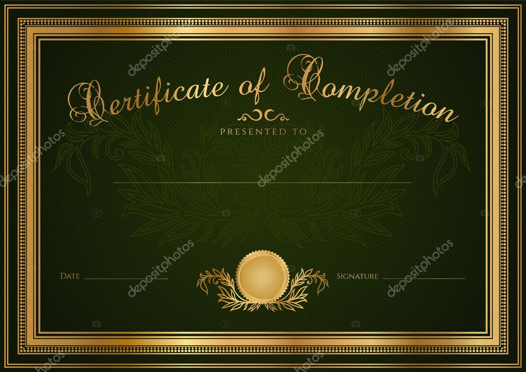 Green Certificate of completion (template or sample blank background ...