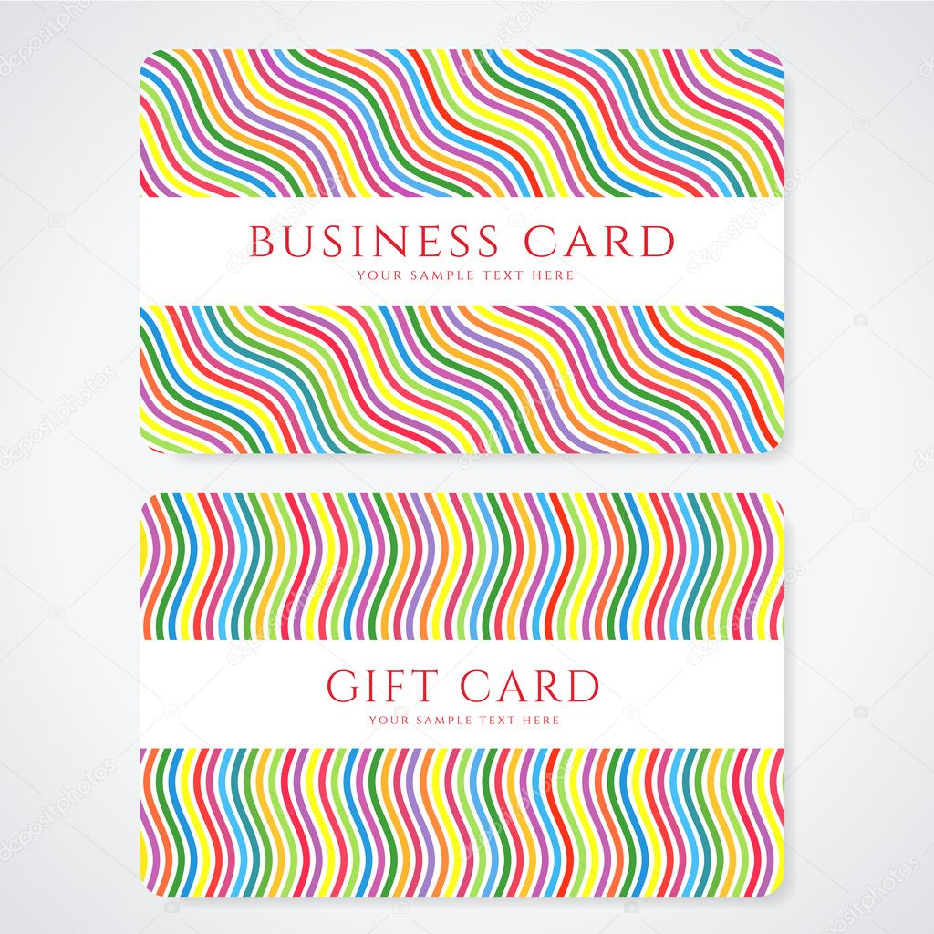 Colorful business card or gift card discount card template with colorful business card or gift card discount card template with stripy rainbow pattern reheart Choice Image