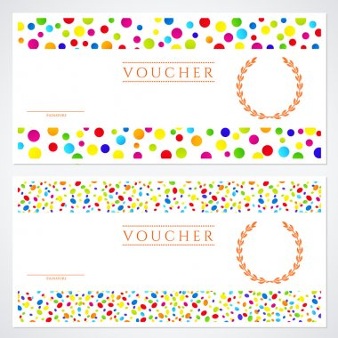 Voucher (Gift certificate) template with colorful (bright, rainbow) abstract background design. Background for coupon, banknote, money design, currency, cheque, ticket, check etc. Vector with circles