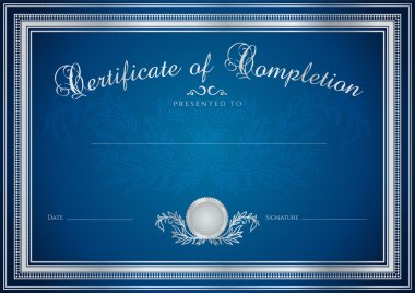 Dark blue Certificate, Diploma of completion (design template, sample background) with floral pattern (watermarks), border. Useful for: Certificate of Achievement, Certificate of education, awards