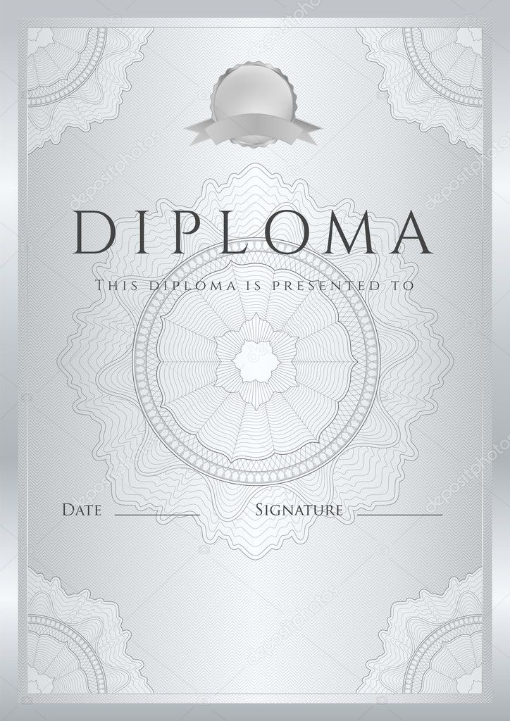 Silver Certificate Diploma Of Completion Design Template Sample