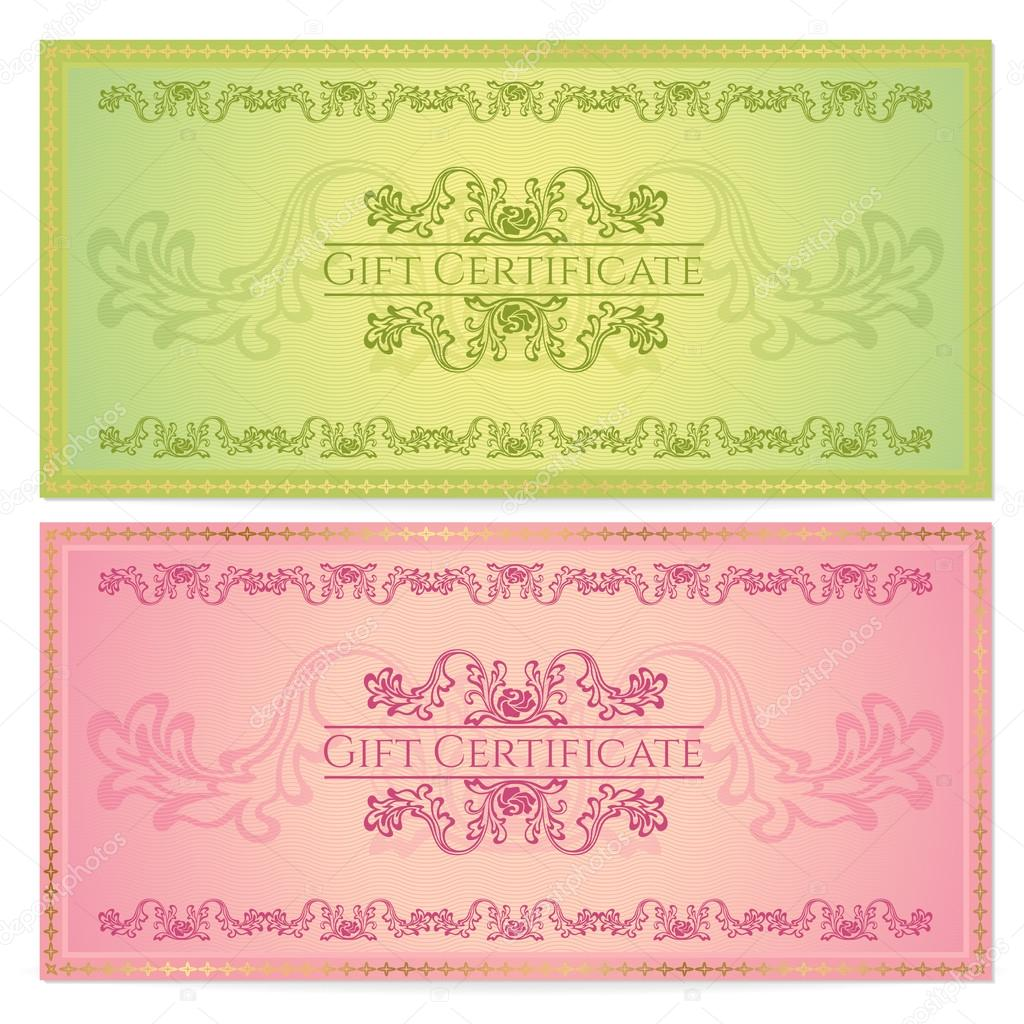Gift certificate Voucher Coupon template layout with floral – Money Coupon Template