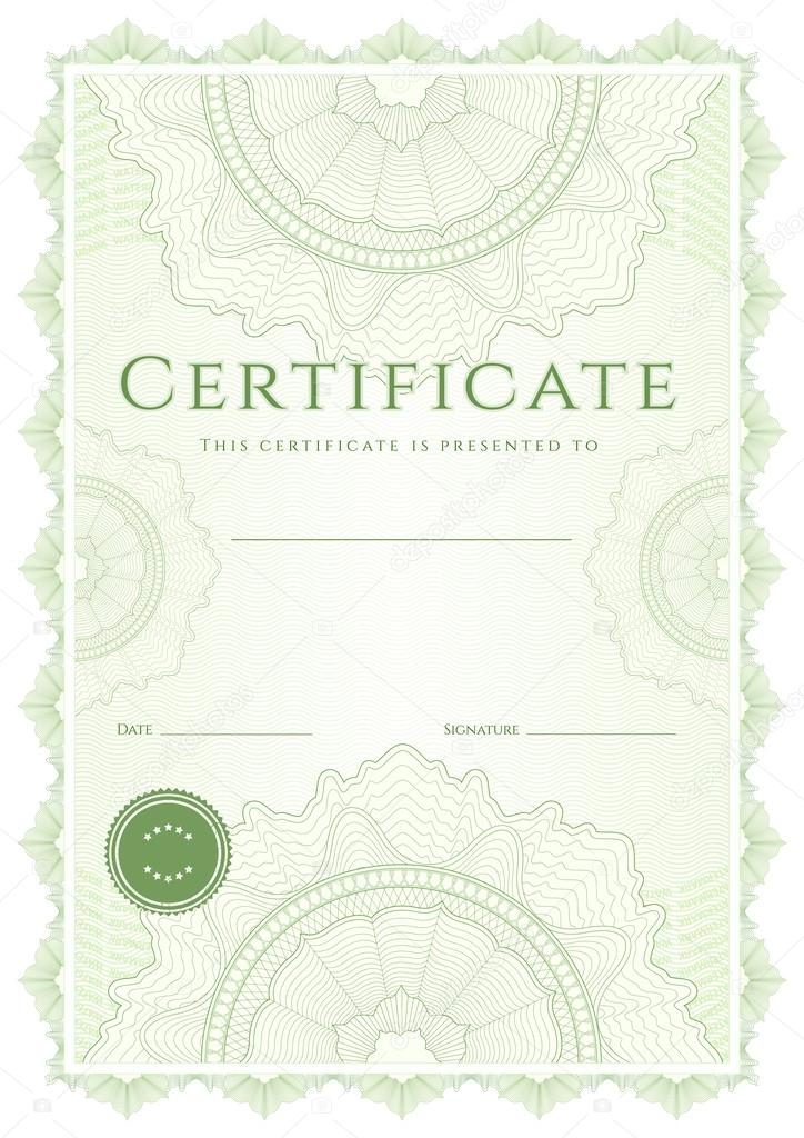 Green Certificate Of Completion (Template Or Sample Background