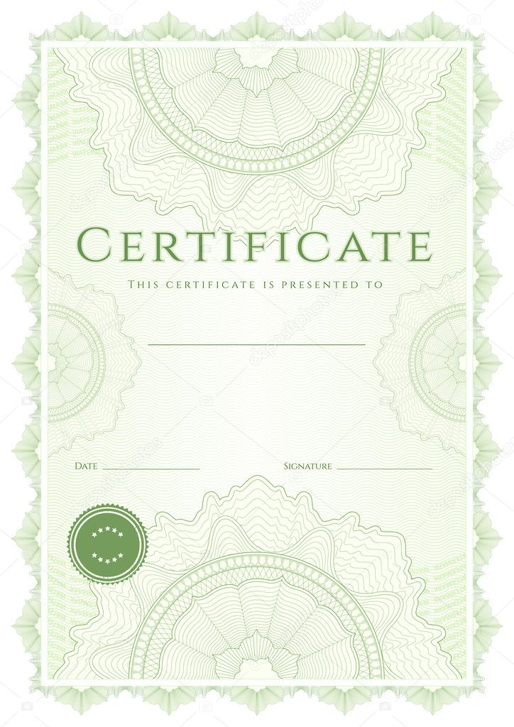 Green Certificate Of Completion Template Or Sample Background