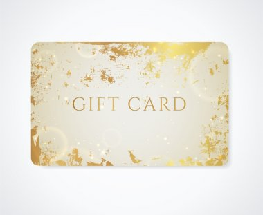 Golden Gift card, Business card, Discount card with grunge pattern (old texture with stain), glowing stars. Bright background design for gift coupon, voucher, ticket. Vector