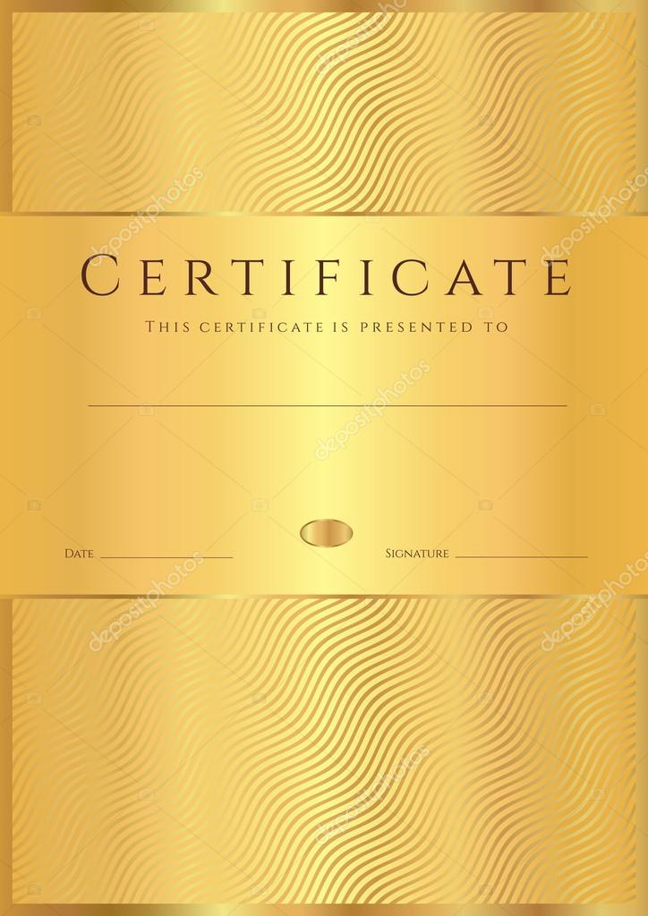 Certificate Of Completion Template Or Sample Background With