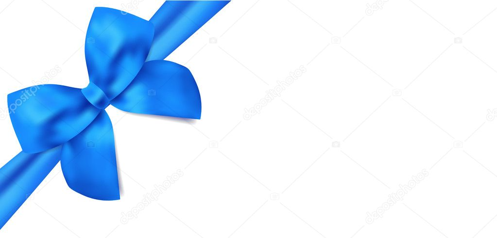 Gift Certificate, Voucher Template With Isolated Blue Bow (Ribbons