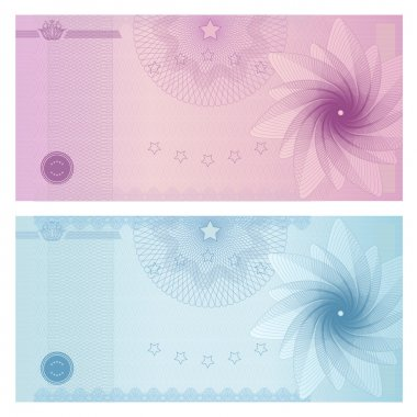 Gift certificate, Voucher, Coupon template with guilloche pattern (watermark), border. Background for banknote, money design, currency, note, check (cheque), ticket, reward. Blue, purple color. Vector