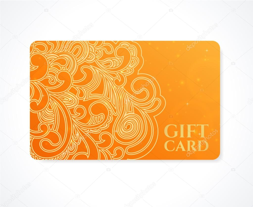 Bright Orange Gift card, Business card, Discount card template ...
