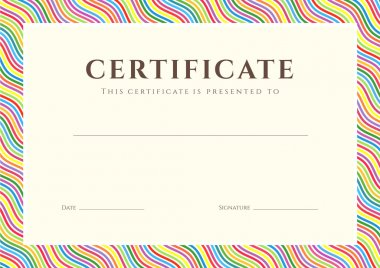 Certificate of completion (template or sample background) with colorful (bright, rainbow) wave lines pattern (border). Design for diploma, invitation, gift voucher, ticket, awards. Vector