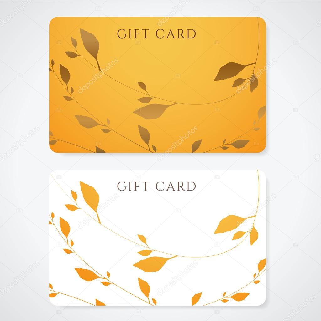 Gift card (discount card, business card) with floral pattern ...