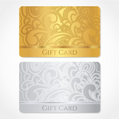 Silver and gold gift card (discount card, business card) with floral (scroll, swirl) pattern (tracery). Background design for gift coupon, voucher, invitation, ticket etc. Vector