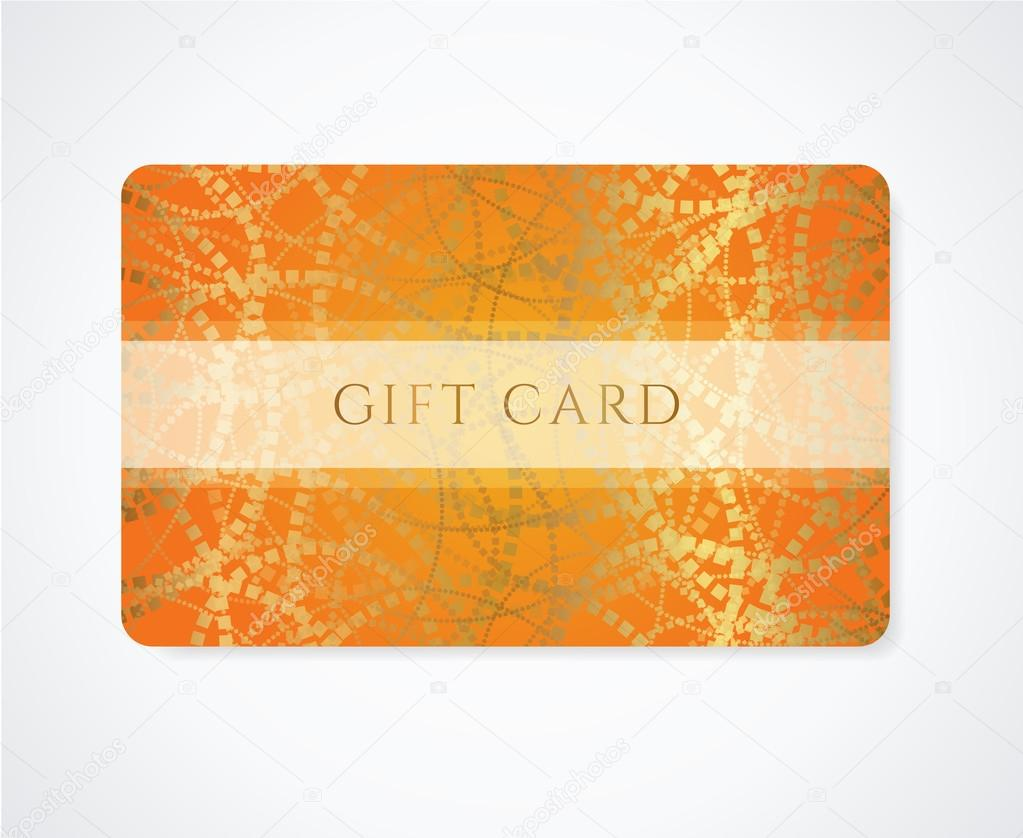 Design of discount card - Bright Orange Gift Card Business Card Discount Card Template With Abstract Golden Pattern And Frame Design For Discount Card Invitation Ticket