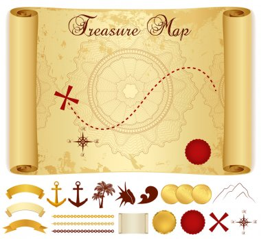 Treasure Map on old, vintage, antique paper (scroll or parchment) with cross, red mark, compass, anchor, banner ribbon, palm tree. Treasure hunt (Searching). Medieval Cartography. Vector template