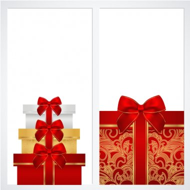 Voucher, Gift certificate, Coupon template with gift boxes, bow (ribbons, present). Background design for invitation, banner . Vector in red, gold colors