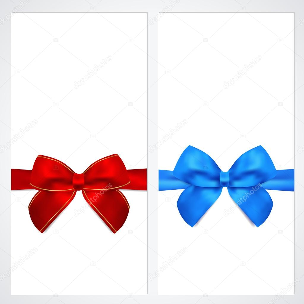 Voucher, Gift certificate, Coupon template with bow (ribbons ...
