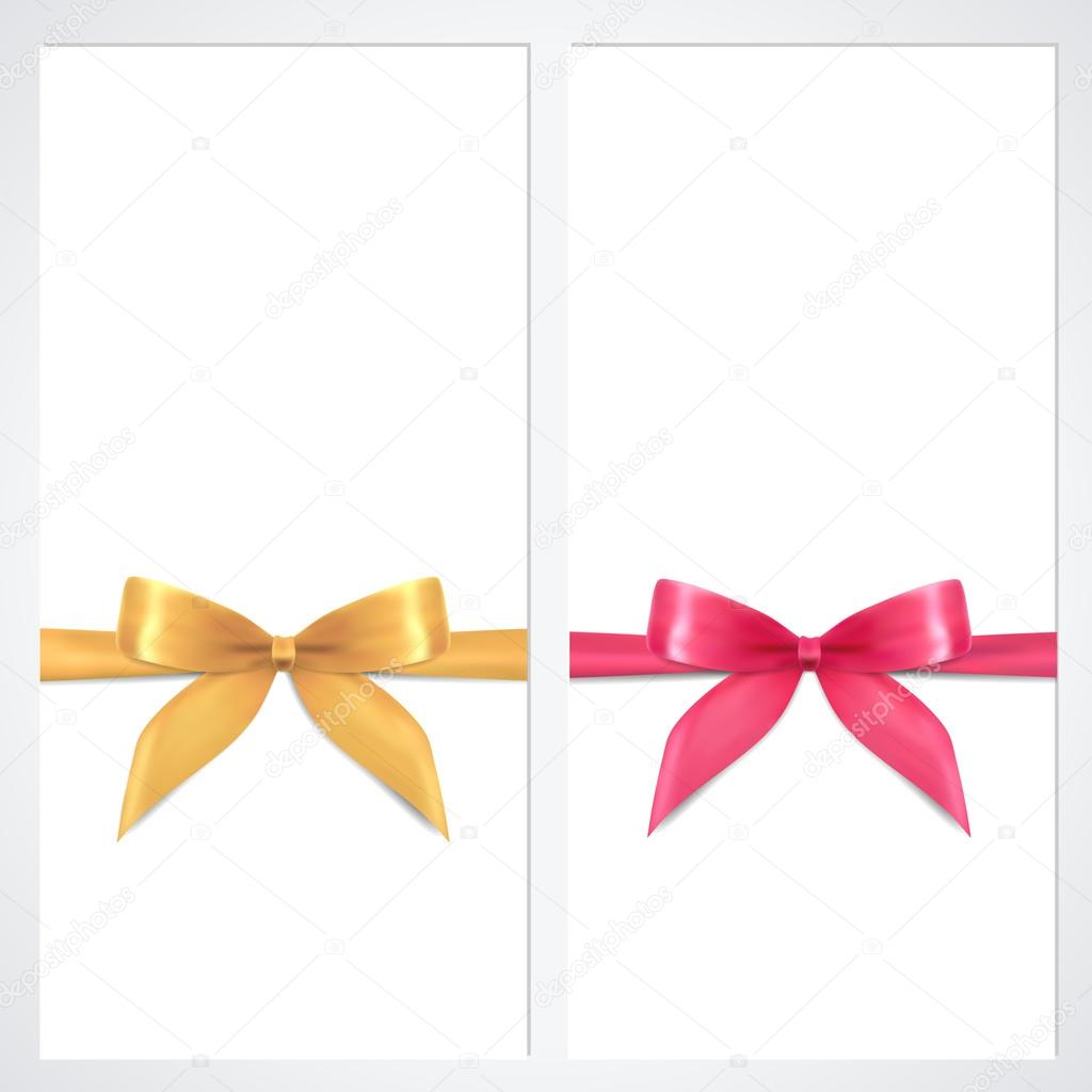 Voucher gift certificate coupon template with bow ribbons voucher gift certificate coupon template with bow ribbons present background design for invitation banknote banner vector in gold pink colors yadclub Image collections