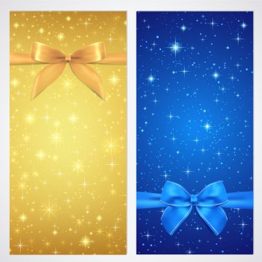 Coupon, Voucher, Gift certificate, gift card template with bow (ribbons, present) with sparkling, twinkling stars. Night background design for invitation, banner, ticket. Vector in gold, blue color