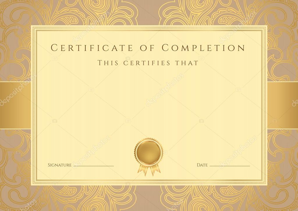 certificate diploma of completion design template background  certificate diploma of completion design template background floral pattern gold
