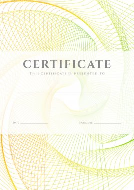 Certificate, Diploma of completion (design template, background) with colorful guilloche pattern (watermark), frame. Useful for: Certificate of Achievement, Certificate of education, awards, winner