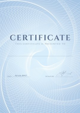 Certificate, Diploma of completion (design template, background) with blue guilloche pattern (watermark), frame. Useful for: Certificate of Achievement, Certificate of education, awards, winner