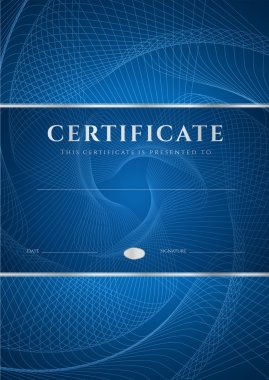Certificate, Diploma of completion (design template, background) with dark blue guilloche pattern (watermark), frame. Useful for: Certificate of Achievement, Certificate of education, awards, winner