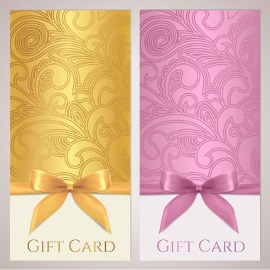 Gift certificate, gift card, Voucher, Coupon template with floral (scroll, swirl) pattern, bow (ribbons, present). Background design for invitation, ticket, banner. Vector in golden, pink colors