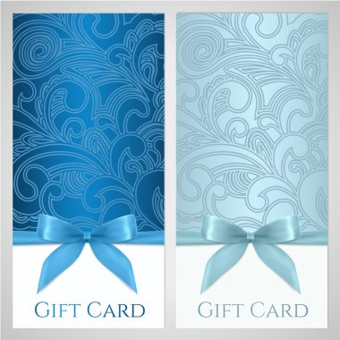 Gift certificate, gift card, Voucher, Coupon template with floral (scroll, swirl) pattern, bow (ribbons, present). Background design for invitation, ticket, banner. Vector in blue, turquoise colors
