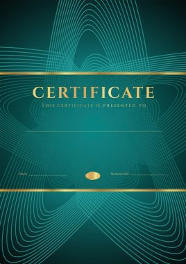 Dark green Certificate, Diploma of completion (design template, background) with star shape pattern, gold border (frame), insignia. For: Certificate of Achievement, Certificate of education, awards