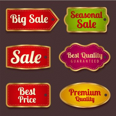 Vector set: Colorful Sale banners, labels (coupon, tag) template (layout) with gold frame (border). Bright design for sticker, web page ad, ticket etc. Corrugated background