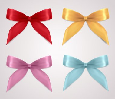 Set of gift bows (ribbons, present symbol). Decorative Design element for invitation, gift card, gift certificate, invitation, coupon. Useful for holidays, celebrations (Birthday, Christmas). Vector