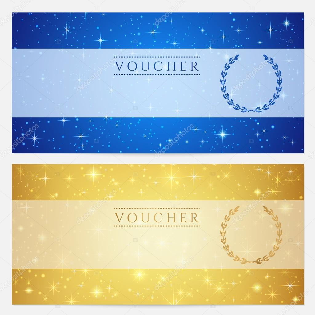 Gift certificate voucher coupon template with sparkling gift certificate voucher coupon template with sparkling twinkling stars night sky background design for invitation banner ticket vector in gold yadclub Image collections