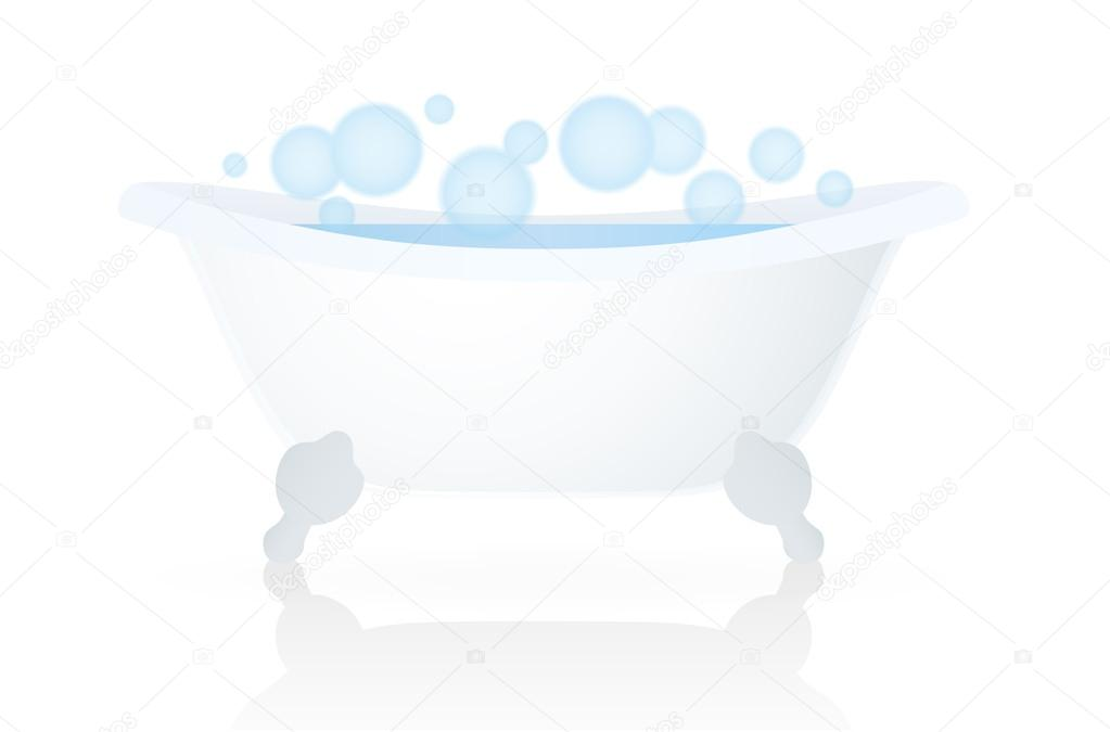 White Bath (tub, bathtub) with bubbles. Isolated Vector on white ...