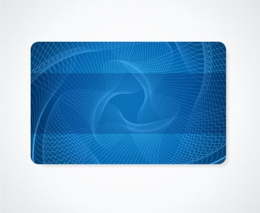 Dark blue Business card, Gift card, Discount card template (layout) with rainbow guilloche pattern (watermark). Vector abstract background design