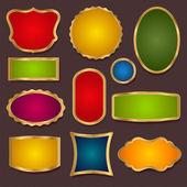 Fényképek határok, keret - vektor készlet. színes eladó bannerek, arany címkék (kupon, tag) sablon (elrendezés). világos design matrica, a weboldal ad, a jegy. Hullámkarton háttér