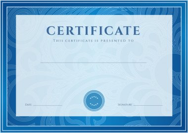 Certificate, Diploma of completion (design template, background). Floral (scroll, swirl) pattern (watermark), border, frame. For: Certificate of Achievement, Certificate of education, awards, winner