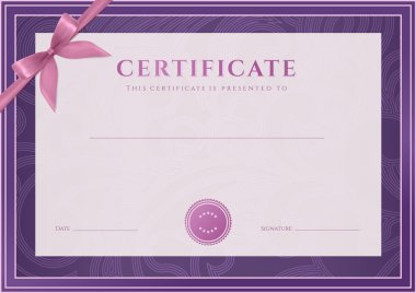 Certificate, Diploma of completion (template, background). Floral (scroll, swirl) pattern (watermark), border, frame, bow. For: Certificate of Achievement, Certificate of education, awards, winner