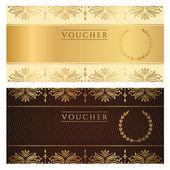 utalvány, ajándék utalvány, kupon sablon virágos szegéllyel. háttérgrafika meghívás, jegy, bankjegy, pénzt tervezés, valuta, ellenőrizze (csekk). vektor arany, sötét barna színben