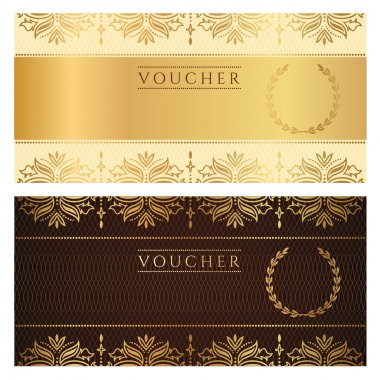 Voucher, Gift certificate, Coupon template with floral border. Background design for invitation, ticket, banknote, money design, currency, check (cheque). Vector in gold, dark brown colors