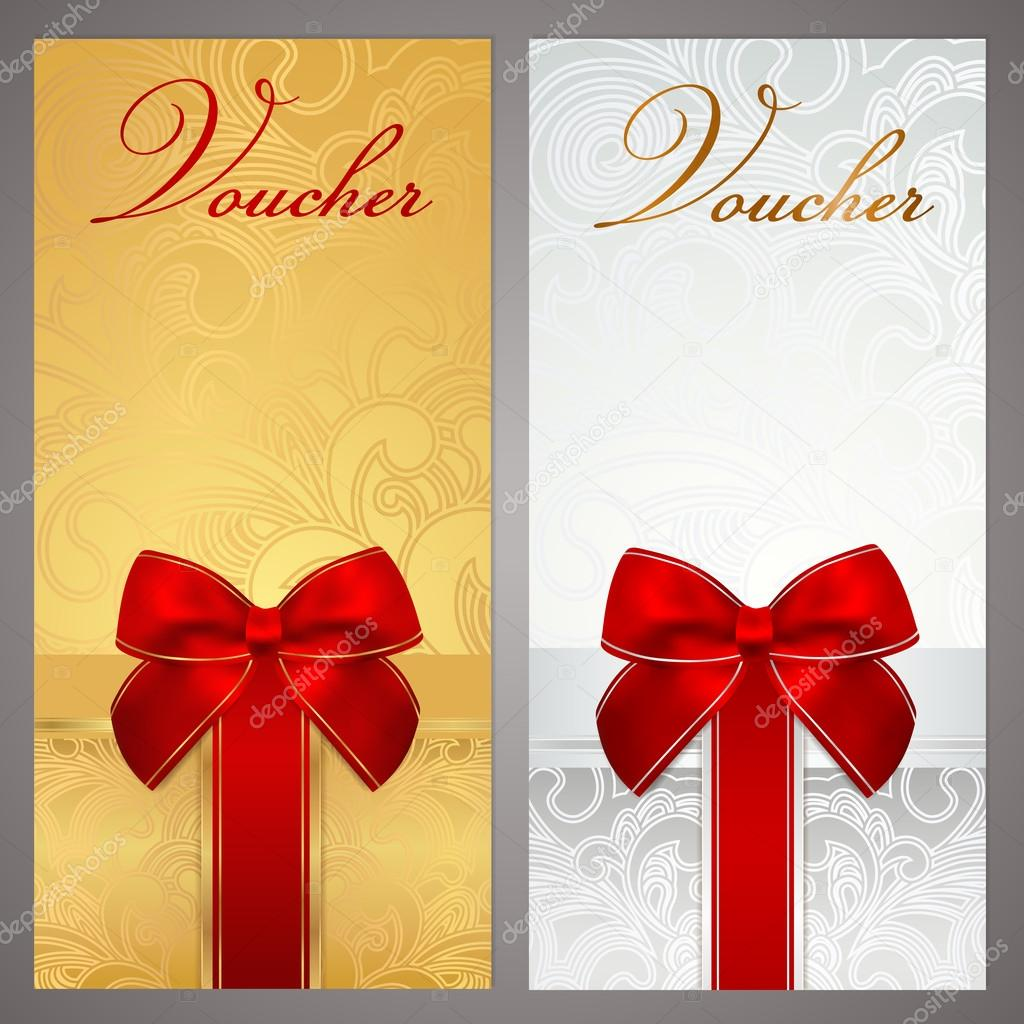 voucher gift certificate coupon template with gift bow ribbons