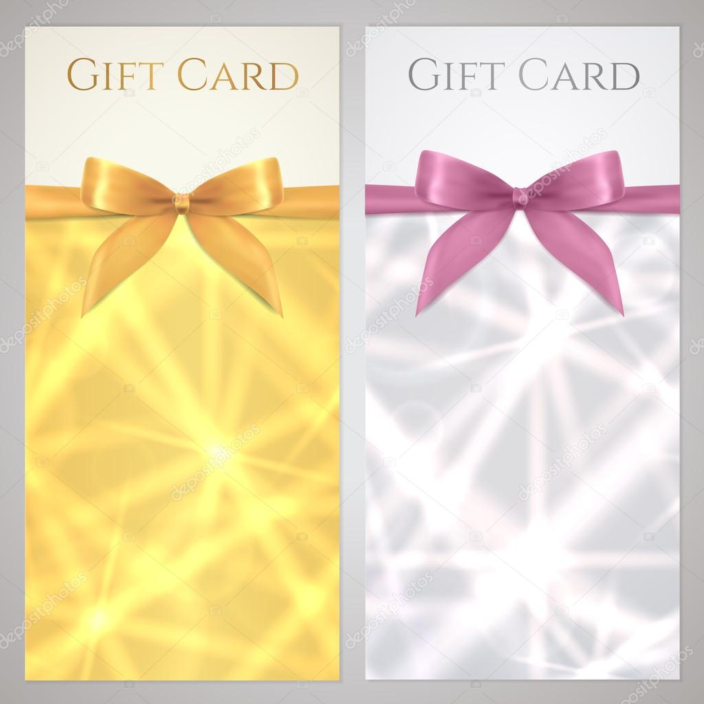 Coupon Voucher Gift certificate gift card template with bow – Voucher Card Template
