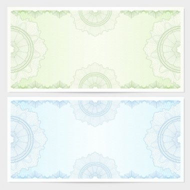 Gift certificate, Voucher, Coupon template with guilloche pattern (watermark), border. Background for banknote, money design, currency, note, check (cheque), ticket, reward. Blue, green color. Vector