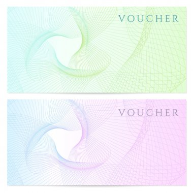 Gift certificate, Voucher, Coupon template with colorful (rainbow) guilloche pattern (watermark). Background for banknote, money design, currency, note, check (cheque), ticket, reward. Vector