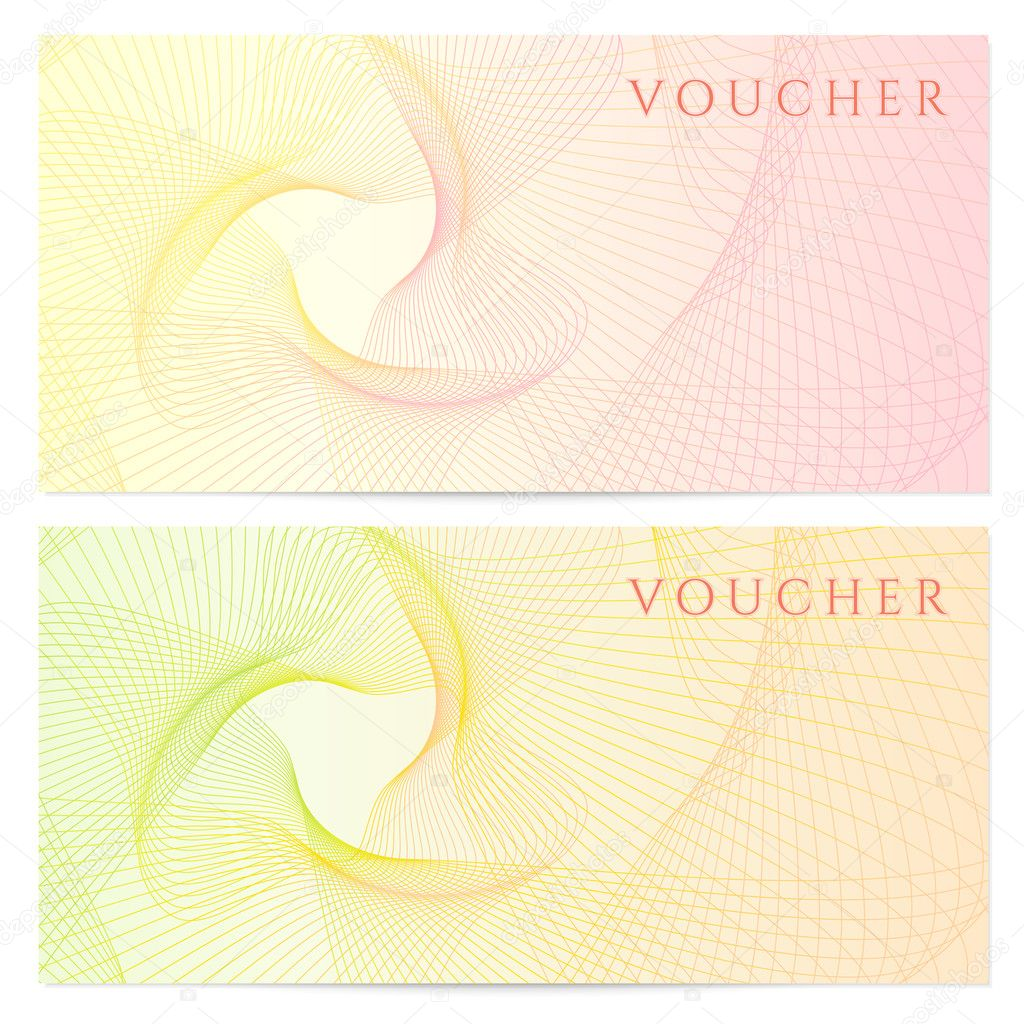 Gift certificate voucher coupon template with colorful for Cheque voucher template