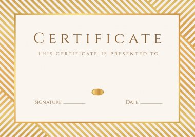 Certificate, Diploma of completion (template, background) with gold stripy (lines) pattern, frame. Certificate of Achievement, awards, winner, degree certificate, business Education (Courses), lessons