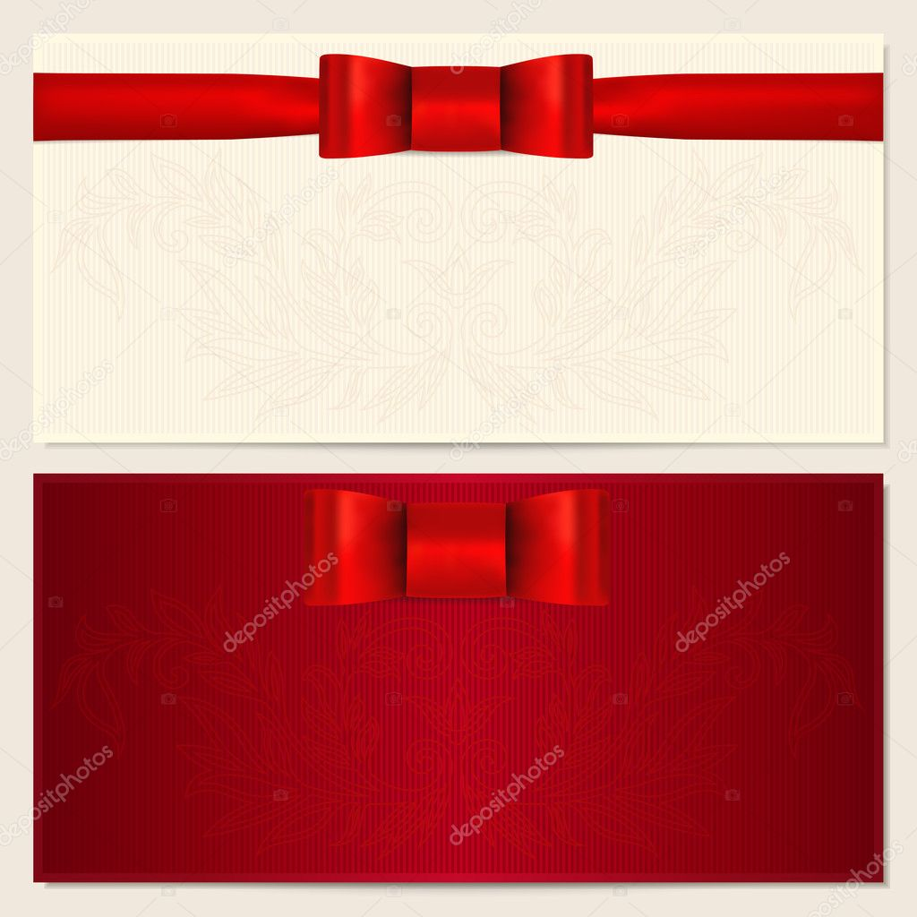 Voucher gift certificate coupon invitation or gift card voucher gift certificate coupon invitation or gift card template with red bow pronofoot35fo Choice Image